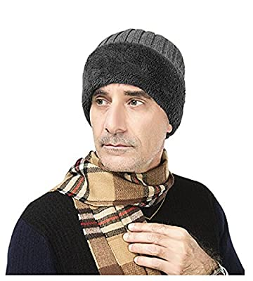 Men's Winter Warm Earmuffs Baggy Slouchy Beanie Hat Cap Roll up Cable Crochet Wool Knit Skull Cap Outdoor Skiing Cycling Thick Fleece Lined Cap Earflap,Christmas Party Hat Costume Gift