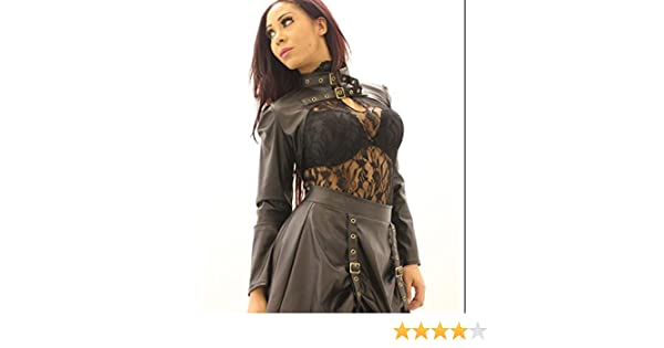72ae7733f5c11 Faux Brown Leather Steampunk Brass Buckle Strap Bolero Womens Top at Amazon  Women s Clothing store
