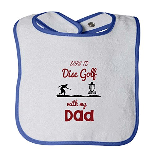 Born To Disc Golf With My Dad Infant Contrast Trim Terry Bib White/Royal Blue