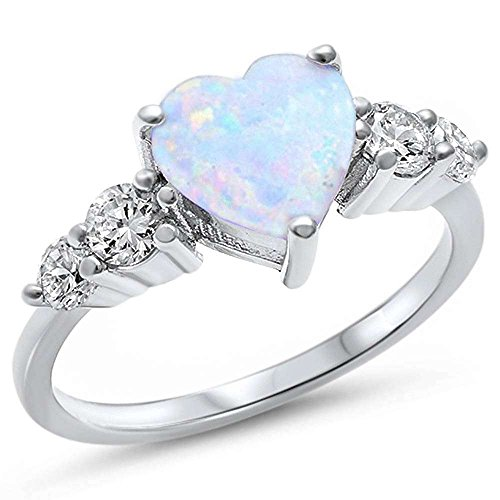Sterling Silver Lab Created White Opal Heart & Cubic Zirconia Ring Sizes 7 (Diamond Created Opal Heart Ring)