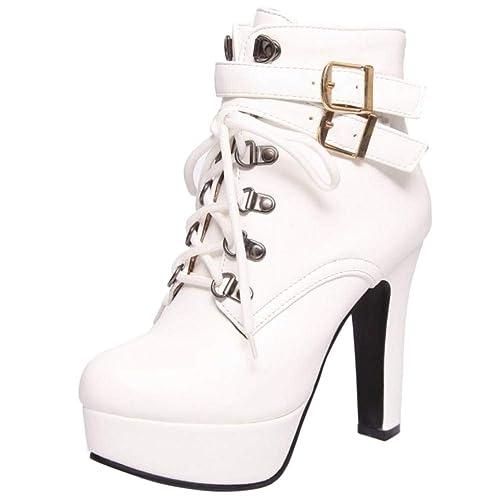 Kaizi Karzi Mujer Moda Tacon Alto Botšªn Corto Tobillo Alto Plataforma Fiesta Zapatos White Size 39 Asian: Amazon.es: Zapatos y complementos
