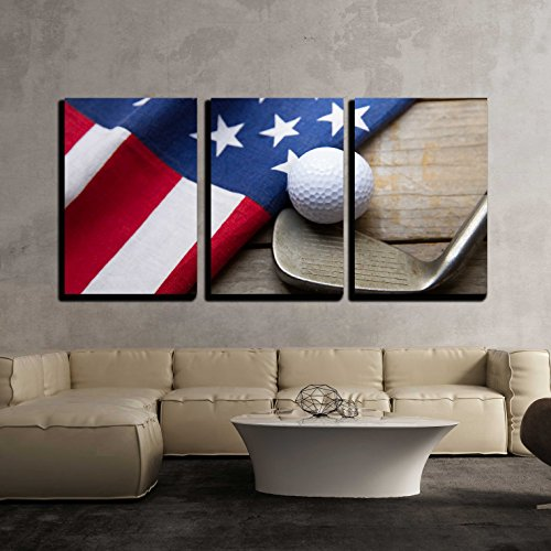 wall26 - 3 Piece Canvas Wall Art - Golf Ball with Flag of Usa on Wood Table - Modern Home Decor Stretched and Framed Ready to Hang - 24