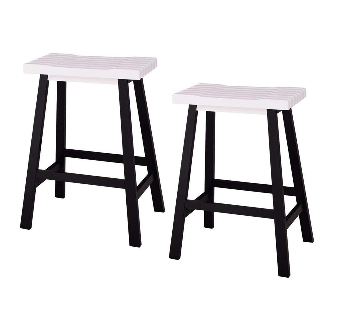 Cypressshop wooden bar stools counter pine wood bar seat chairs kitchen stool 24 inch indoor outdoor patio seating set of 2 pieces home furniture decors