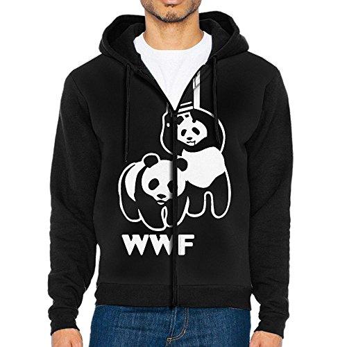 Men's Zip-Up Hooded Sweatshirt WWF Funny Panda Bear Wrestling Sport Outwear Jackets by Okb-7
