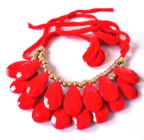 LanLan Long Ribbon Water-drop String of Big Resin Beads Short necklace ()