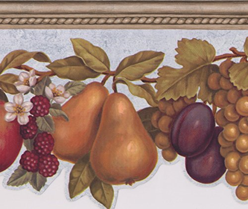 Wallpaper Border Fruit with Faux Wood Trim on Blue Apples Grapes Pears Cherries Plums