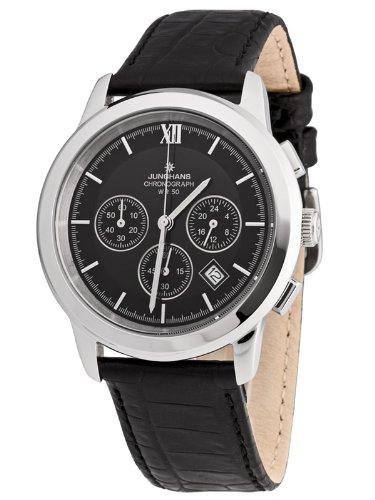 Junghans 41/4374 - Cr - Reloj de caballero de cuarzo, correa de piel