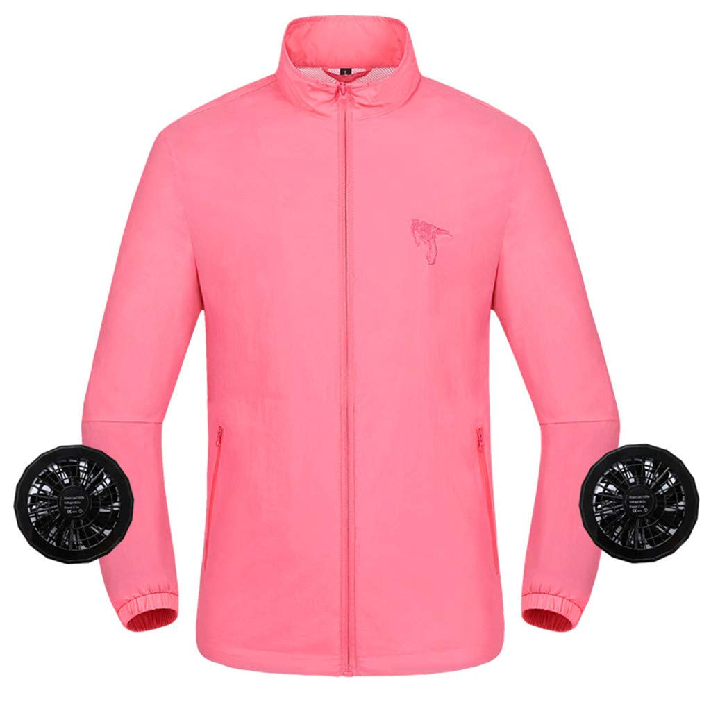 Unisex Shirts Summer Air Conditioning Heatstroke Countermeasures Pocket Outdoor Working Clothes Tops (3XL, Pink)