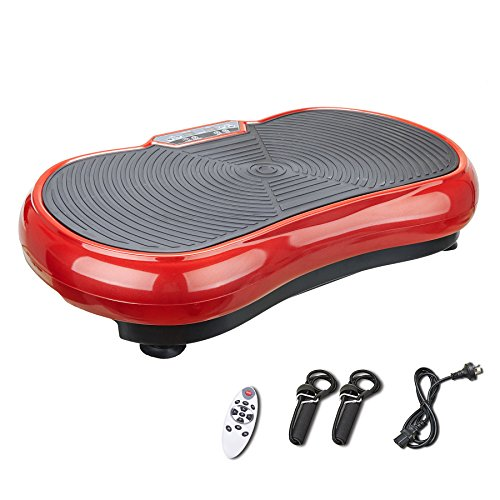 (Pinty Fitness Vibration Platform - Whole Body Vibration Machine Crazy Fit Vibration Plate with Remote Control and Resistance Bands(Red))
