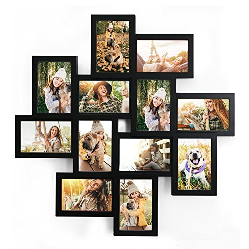 Adeco 12 Openings Distressed Wood Style Heather Plastic Wall Hanging Collage Picture Photo Frame - Made to Display Twelve 4x6 Photos or Print (Black)