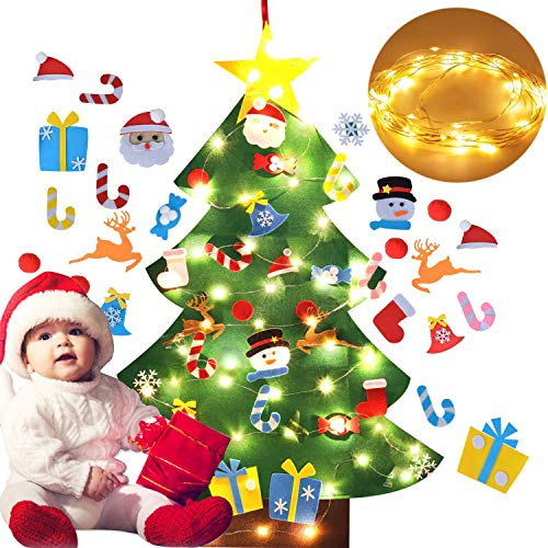 B bangcool DIY Felt Christmas Tree 26Pcs Xmas Ornaments 3.2ft DIY Christmas Tree Wall Hanging Xmas Gifts Christmas Decorations