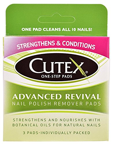 Cutex One-Step Pads, Advanced Revival Nail Polish Remover Pads, 3 count