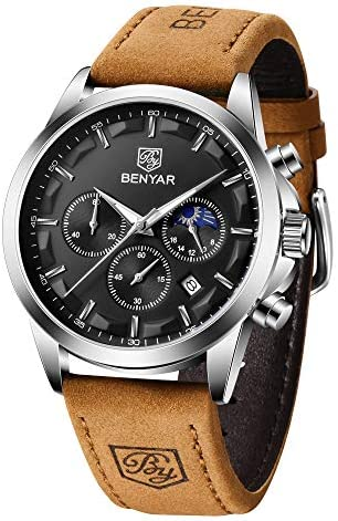 BENYAR Men's Watches Waterproof Sport Military Watch for Men Multifunction Chronograph Black Fashion Quartz Wristwatches Calendar with Leather Strap
