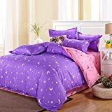 uxcell® bed sets,Moon Stars Pattern Pillowcase Quilt Cover Bedding Set Queen Purple