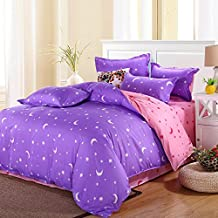 uxcell® bed sets,Moon Stars Pattern Pillowcase Quilt Cover Bedding Set Single Purple