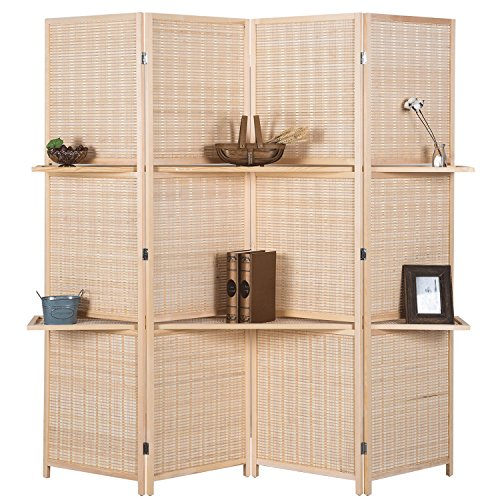 - RHF 6 ft Tall (Extra Wide) Beige Woven Bamboo Room Divider&Room dividers and folding privacy screens,Partition Wall, With 2 Display Shelves&room divider with shelves-Bamboo -4 Panels 2 Shelves