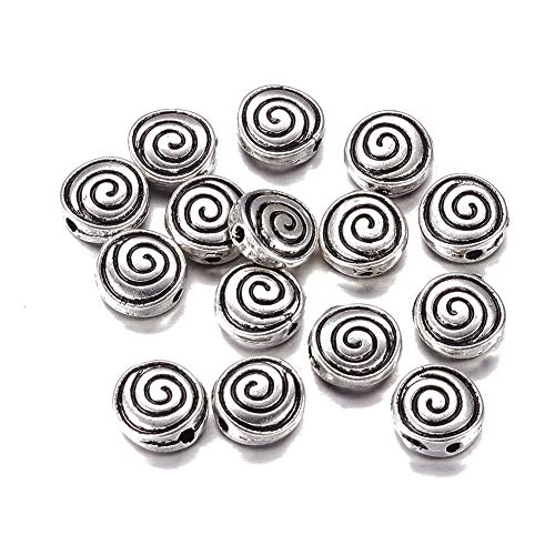 Fashewelry 50Pcs Flat Round Spiral Metal Spacer Loose Beads 8x8mm Lead Free & Nickel Free & Cadmium Free for DIY Jewelry Craft Making