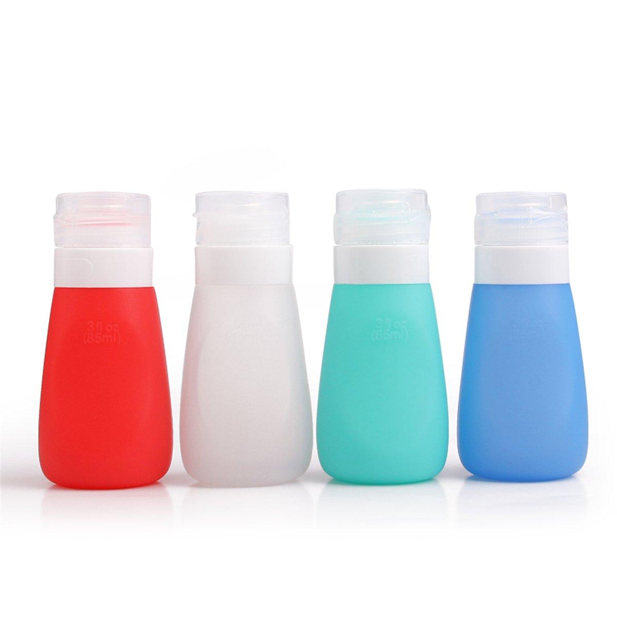 JasCherry Flacon en Silicone Bouteilles de Voyage - BPA sans Approuvé par la ligne aérienne TSA - Pour le shampooing, revitalisant, lotion etc - Set Kit de 4 Pièces (Couleur aléatoire, Capacité 86 ml)