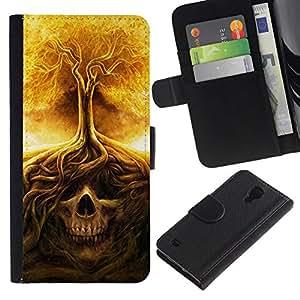 All Phone Most Case / Oferta Especial Cáscara Funda de cuero Monedero Cubierta de proteccion Caso / Wallet Case for Samsung Galaxy S4 IV I9500 // Fire Tree Skull Meaning Death Metal