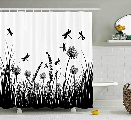 Dragonfly Garden Rod - KRISTI MCCARTNEY Nature Shower Curtain by, Grass Bush Meadow Silhouette with Dragonflies Flying Spring Garden Plants Display, Fabric Bathroom Decor Set with Hooks, 75 Inches Long, Black White
