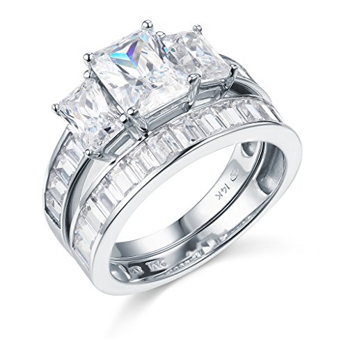 14k White Gold SOLID Wedding Engagement Ring and Wedding Band 2 Piece Set - Size 8