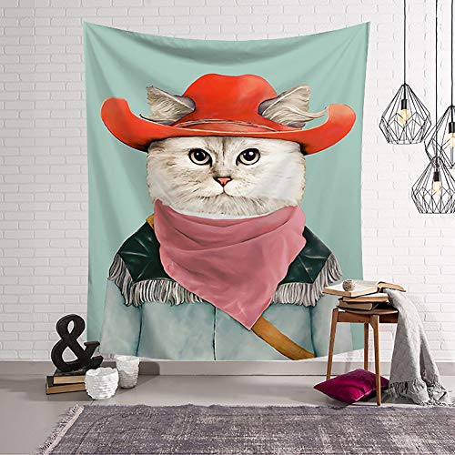 (Boyouth Cat Tapestry Wall Hanging,Western Cowboy Style Cat Pattern Digital Print Wall Tapestry for Living Room Bedroom Dorm Decor,37.4 Inch by 28.7 Inch)
