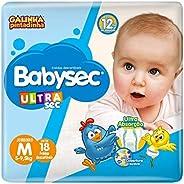 Fraldas descartáveis Babysec Ultrasec Galinha Pintadinha, 18 Unidades, Tamanho M  5 - 9,5 Kg