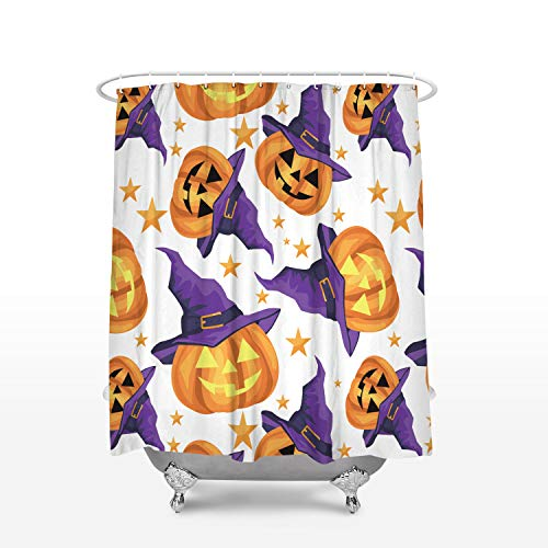 KAROLA Bathroom Shower Curtain - Halloween Theme Witch Hat and Pumpkin Pattern 36