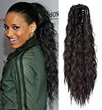 Ayana Synthetic Claw Ponytail Heat Resistant Yaki Straight Long Big Wavy Claw Curly Ponytail Clip in Hair Extensions (20'', 1B)