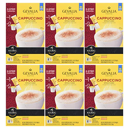 Gevalia K-Cup Pods with Froth Packet, Cappuccino, 6 CT (36 Count,Pack - 6)