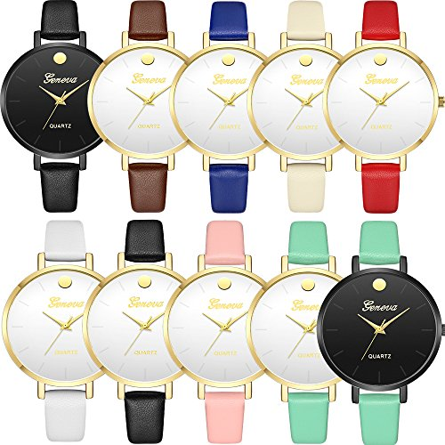 Yunanwa 10 Pack Unisex Women Men Watches Big Dial Lover Gift Leather Bracelet Wristwatch Wholesales … (10pcs-603)
