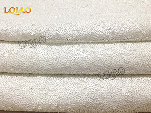 LQIAO 10PCS 90x132-Inch Rectangle Sequin Tablecloth-White for Lavender Wedding Party Decoration by LQIAO (Image #5)