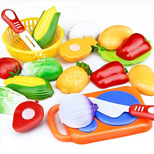 Parit Cutting Play Food Fruit Vegetable Kitchen Set Children Kid Educational Toys (Fruits Basket Sticker Collection)