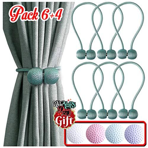 Magnetic Curtain Tiebacks [Upgrade Verion] Best Curtain Holdbacks, Curtain Tie Backs, Tie Backs Curtain Holdback, Curtain Ties Backs Big Size 18.5 in and Adjust Length Freely - Pack 6 + 4 - Teal
