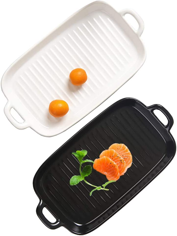 Maypink Matte Ceramic Baking Dish with Double Handle Porcelain Baking Pan Dinner Plates Square Black and White Set of 2