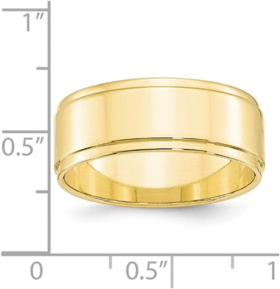 10k Yellow Gold 8mm Flat with Step Edge Mens Womens Wedding Anniversary Band