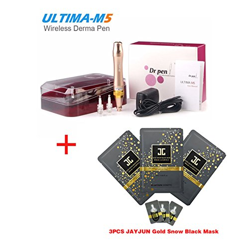 Miss Ammy Electric Auto M5 Dr Pen Makeup Tattoo Dr Pen With 2Pcs 12Pin Tattoo Needles Mts System Gold Color  3Pcs Gift Jayjun Rose Blossom Repair Facial Mask