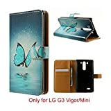 phone cases lg 3 vigor - G3 Vigor (Mini) Case, Jenny shop [Stand Feature] Premium PU Leather Wallet Flip Protective Cover Case with Built-in Card Slots and Money Pocket, Magnetic Closure ONLY for LG G3 Vigor (Mini) 5 Inch Screen Smartphone (Aqua Butterfly and Lake)