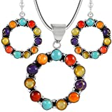 """Genuine Turquoise & Gemstone Matching Set 925 Sterling Silver (Pendant, Earrings, 20"""" Necklace)"""