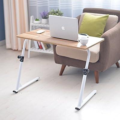Soges Adjustable Lap Table Portable Laptop Computer Stand Desk Cart Tray, Teak S1-2G