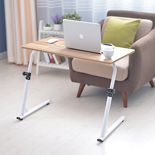 Soges Adjustable Lap Table Portable Laptop Computer Stand Desk Cart Tray, Teak S1-2G