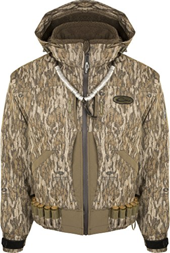 (Drake Guardian Elite Flooded Timber Coat, Insulated, Color: Mossy Oak Bottomland, Size: X-Large)