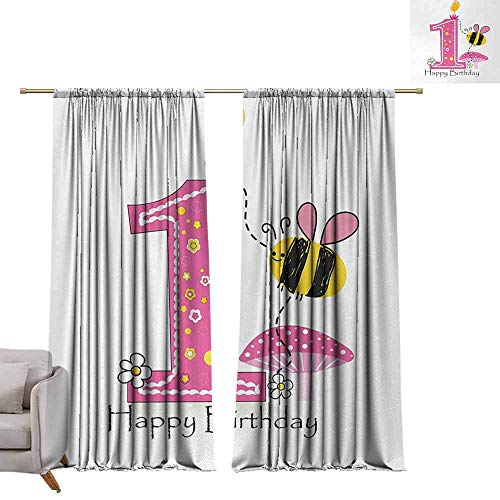 - DuckBaby Bedroom Curtains 2 Panel 1st Birthday Cartoon Style Image with The Bees Party Cake and The Candle Print Breathability W84 xL84 Pink Black and Yellow