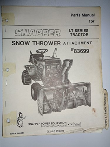 Snapper 83699 Snow Thrower Attachment for use on LT Series Tractors Parts Catalog Book Manual ()