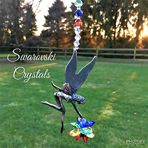 Swarovski Crystal Chakra Fairy Rear View Mirror Car Charm,Crystal Sunburst and Fairy Sun Catcher,Crystal Chakra Window Ornament,Car Mirror Accessory,Feng Shui Rainbow Maker - Own Fairy Mirror