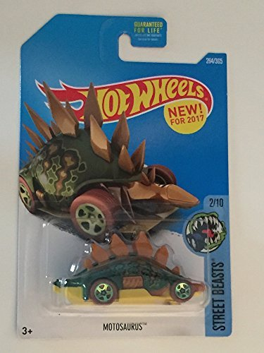 Car Dinosaur (Hot Wheels 2017 Street Beasts Motosaurus (Dinosaur Car) 264/365, Green and Brown)