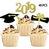 YuBoBo 2019 Graduation Cupcake Toppers, Food/Appetizer Picks For Graduation Party Mini Cake Decorations, Diploma, 2019, Grad Cap Set 48 Pieces