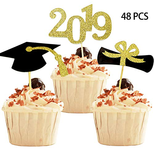 YuBoBo 2019 Graduation Cupcake Toppers, Food/Appetizer Picks For Graduation Party Mini Cake Decorations, Diploma, 2019, Grad Cap Set 48 Pieces