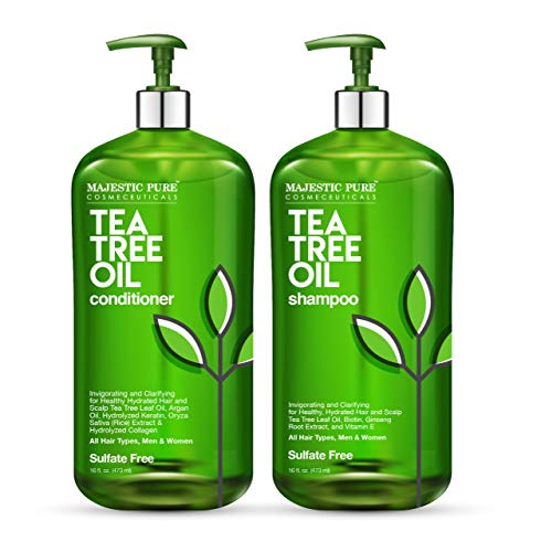 (MAJESTIC PURE Tea Tree Shampoo and Conditioner Set For Men and Women 16 fl oz each - Naturally Hydrating, Dandruff Fighting Duo for Itchy and Dry Scalp - For All)