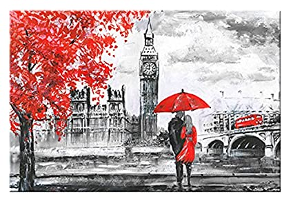 Simonfineus canvas prints black white european architecture red tree lover by oil paintings reproduction pictures on